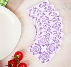 Салфетки бумажные набор 20 шт Эскиз 33*33 см, цвет фиолетовый