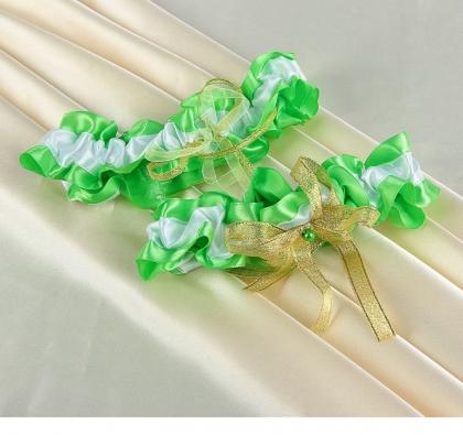 Подвязка невесты, бело-зелёная с золотым бантиком