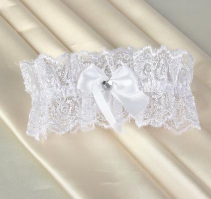 Подвязка невесты кружевная белая, размер 50, индивидуальная упаковка с подвесом