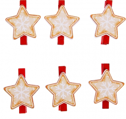 Прищепки декор Праздничное печенье, набор 6 шт., МИКС