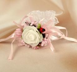 Повязка на руку для подружек невесты «Роза», на резинке, розовая