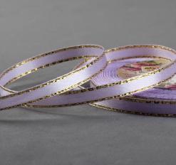 Лента атласная «Золотые нити», 6 мм * 23 ± 1 м, цвет фиолетовый №044