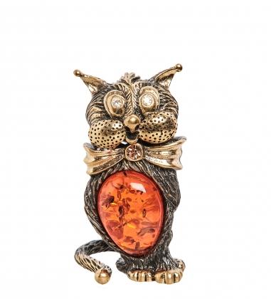 AM- 359 Фигурка  Кот Красавчик   латунь, янтарь