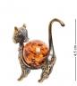 AM- 384 Фигурка  Кошка Гламур   латунь, янтарь