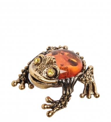 AM- 437 Фигурка  Камышовая жаба   латунь, янтарь