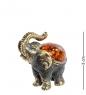 AM- 548 Фигурка  Слон идущий   латунь, янтарь