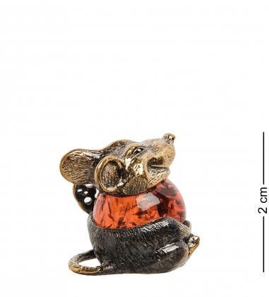 AM- 571 Фигурка Сытая мышь  латунь, янтарь