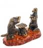 AM- 619 Фигурка  Шахматная партия   латунь, янтарь