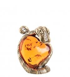 AM- 306 Фигурка  Змея с сердцем   латунь, янтарь