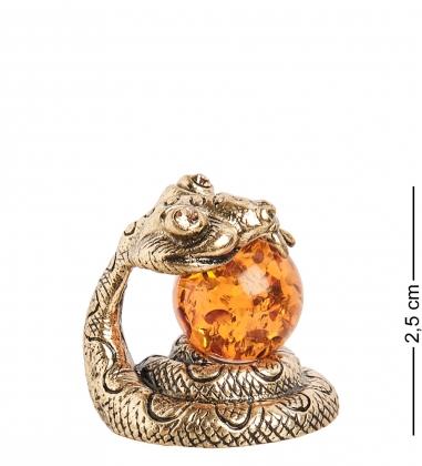 AM- 308 Фигурка «Змея с шаром»  латунь, янтарь