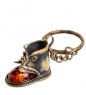 AM- 006 Брелок  Ботинок   латунь, янтарь