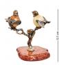 AM- 517 Фигурка  Птички на дереве   латунь, янтарь