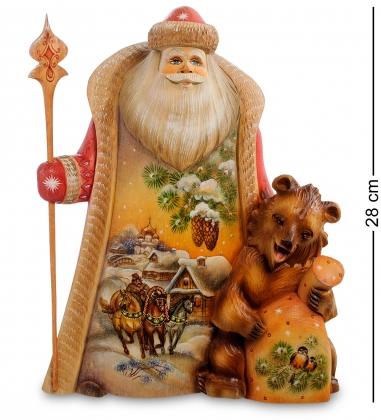 РД-41 Фигурка Дед Мороз с медведем  Резной  26см