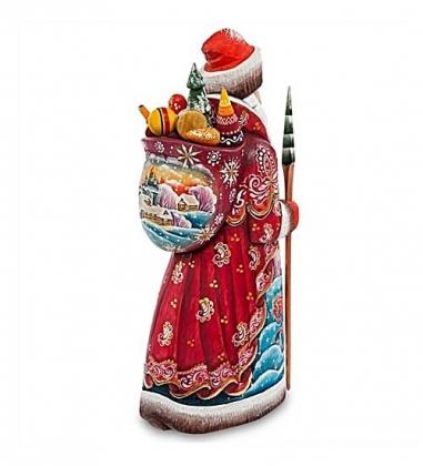 РД-48 Фигурка Дед Мороз с мешком  Резной  31см