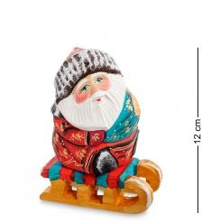 РД-31 Фигурка Дед Мороз на санках  Резной  14см