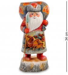 РД-30 Фигурка Дед Мороз на подставке  Резной  34см