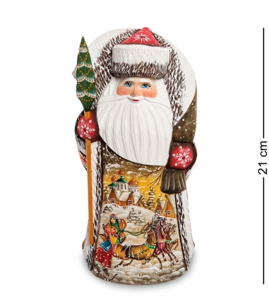 РД-53 Фигурка Дед Мороз с посохом  Резной  21см
