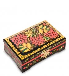 KH-07/1 Шкатулка деревянная 120х80Н с хохломской росписью