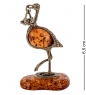 AM- 189 Фигурка  Аист с младенцем   латунь, янтарь