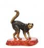 AM- 385 Фигурка  Кошка на подставке   латунь, янтарь