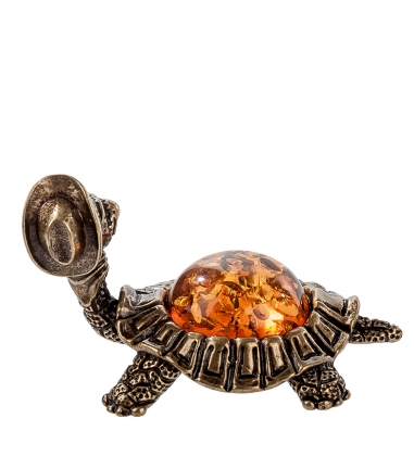 AM- 603 Фигурка  Черепаха в шляпе   латунь, янтарь