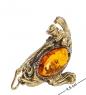 AM- 526 Фигурка  Рыба с рыбаком   латунь, янтарь