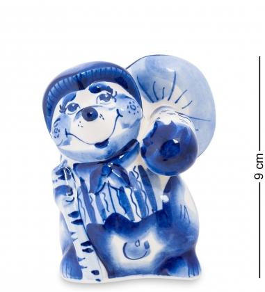 Первая фотография ГЛ-133 Фигурка  Еж с грибом   Гжельский фарфор