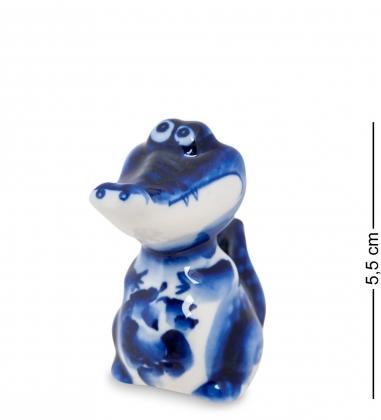 ГЛ-209 Фигурка  Крокодильчик   Гжельский фарфор