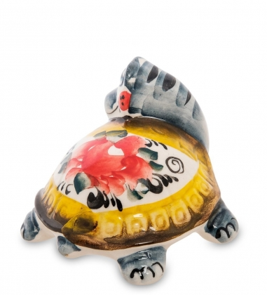 ГЛ-278 Фигурка  Черепаха  цв. Гжельский фарфор