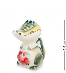 ГЛ-210 Фигурка  Крокодильчик  цв. Гжельский фарфор