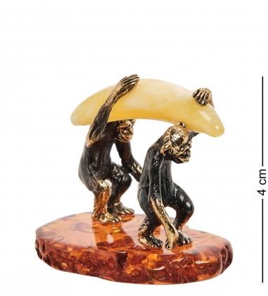 AM- 487 Фигурка Обезьяны с бананом  латунь, янтарь