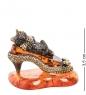 AM- 387 Фигурка  Кошка на туфле   латунь, янтарь