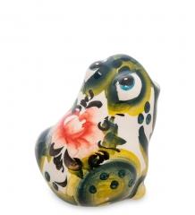 ГЛ-116 Подставка для зубочисток  Лягушка  цв.  Гжельский фарфор