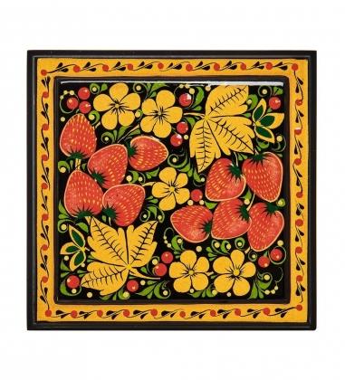 KH-05/01 Шкатулка деревянная 120х115 с хохломской росписью