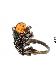 AM- 099 Кольцо «Лягушка»  латунь, янтарь
