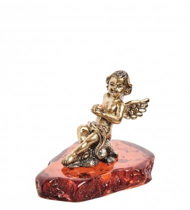 AM- 200 Фигурка  Ангел на облаке   латунь, янтарь