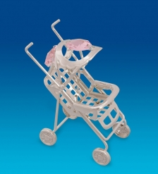 AR-1323/ 2 Фигурка  Детская коляска  посеребр. с цв.кр.  Юнион