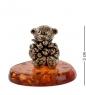 AM- 446 Фигурка  Мишка с цветами   латунь, янтарь