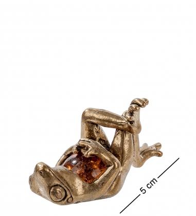 AM- 431 Фигурка  Лягушка сытая   латунь, янтарь