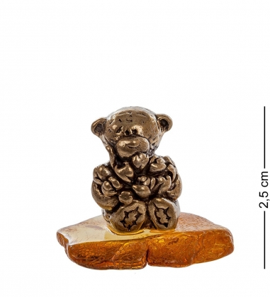 AM- 445 Фигурка Мишка с цветами  латунь, янтарь нат.