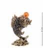 AM- 335 Фигурка «Рыбка Денежная Фен-Шуй»  латунь, янтарь