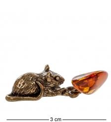 AM- 476 Фигурка «Мышь-кошельковая с зернышком»  латунь, янтарь