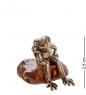 AM- 424 Фигурка  Лягушка задумчивая   латунь, янтарь нат.