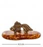AM- 325 Фигурка  Золотая рыбка  мал.  латунь, янтарь