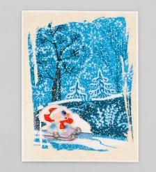 16058 Открытка  Снеговик на санках
