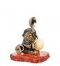 AM- 269 Фигурка  Домовой на подставке   латунь, янтарь