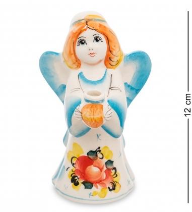 ГЛ-110 Подсвечник  Ангел  цв.  Гжельский фарфор