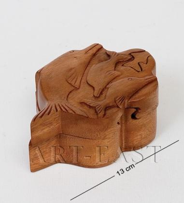В2-0253 Шкатулка с секретом «Дельфины»