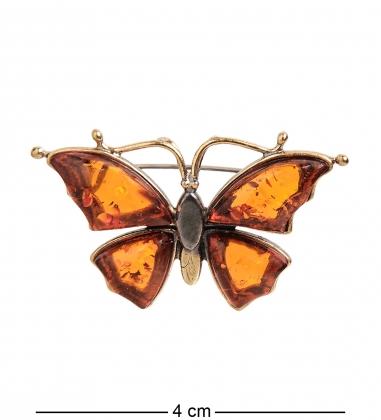 AM- 180 Брошь  Бабочка   латунь, янтарь