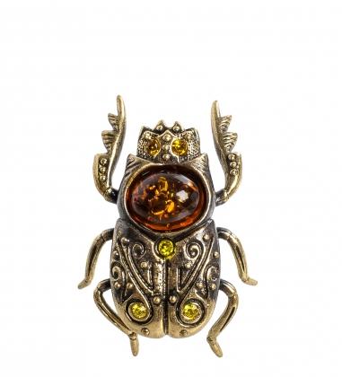 AM- 543 Фигурка  Скарабей   латунь, янтарь